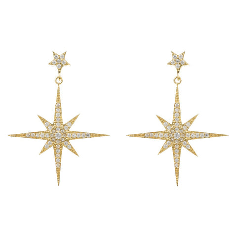 Star burst Drop Earring Gold