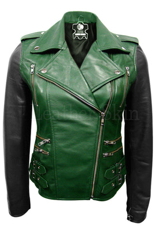 Green Genuine Leather Jacket