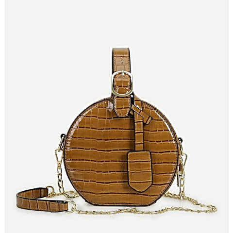 Brown Round Chain Bag