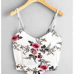 Floral Print Random Split Tie Back Cami Top - Clothes Tops