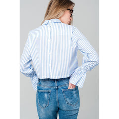 Cropped striped shirt in blue - Pop Up Fashion Sale