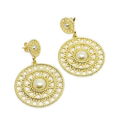 18k GL Pearl Dream Catcher Earrings