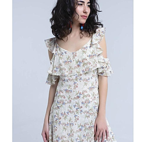 Cream midi dress with frill details in floral print