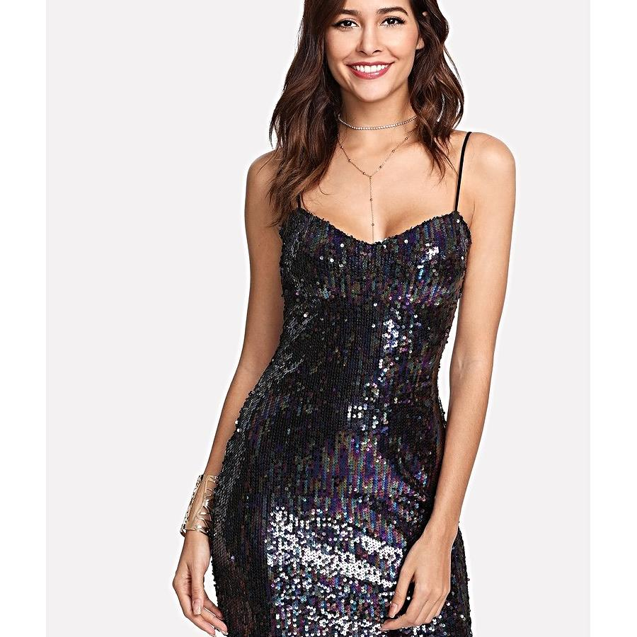 Zip Up Back Sequin Bodycon Cami Dress - Clothing - Dresses