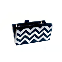 Black Chevron Acrylic Personalized Box Clutch - Women - Bags - Clutches & Evening