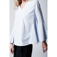Blue Pinstripe Top With Fluted Sleeves - Women - Apparel - Shirts - Blouses