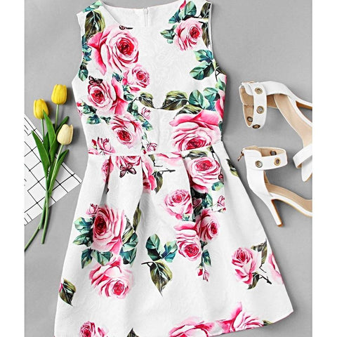 Rose Print Embossed Fit & Flare Dress