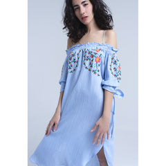 Blue Off The Shoulder Embroidered Midi Dress - Women - Apparel - Dresses - Day To Night