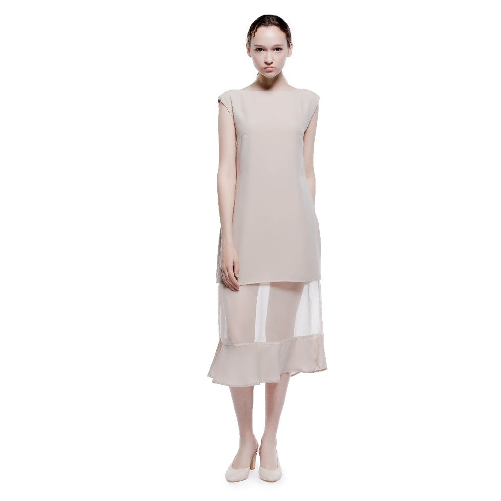 Boat Neck See through Long Dress - Pop Up Fashion Sale