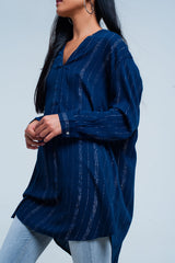 Blue longline shirt with sheer metallic stripes - Pop Up Fashion Sale