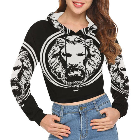 Womens Lion Crop Top Hoodie
