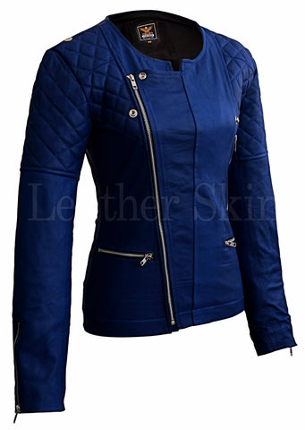 Blue Quilted Leather Jacket