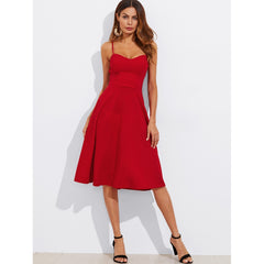 Crisscross Belted Back Fitted & Flared Dress - Clothing - Dresses