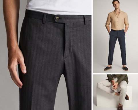 mens trousers casual trousers herringbone tweed striped massimo dutti smart casual fentons and co coconut candles luxury premium mens candles mandles candles for men