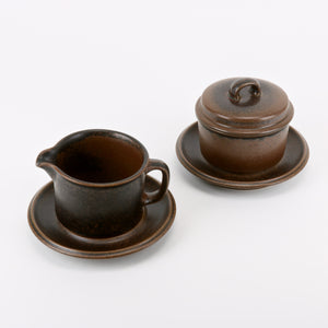 Arabia Finland Ruska covered bowel and pitcher coffee creamer set