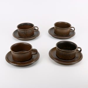 Arabia Finland Ruska cup and saucer set of 4