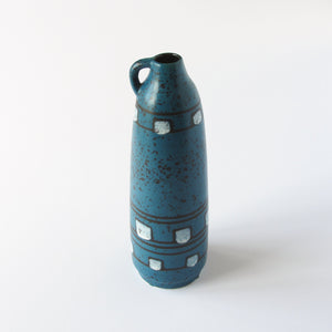 Blue German ceramic vase with white checks