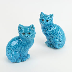 Vintage cast ceramic blue cats