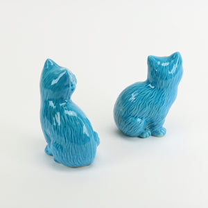 Vintage cast ceramic blue cats back view