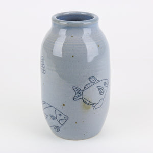 Aqua blue studio pottery fish vase by Janet back view