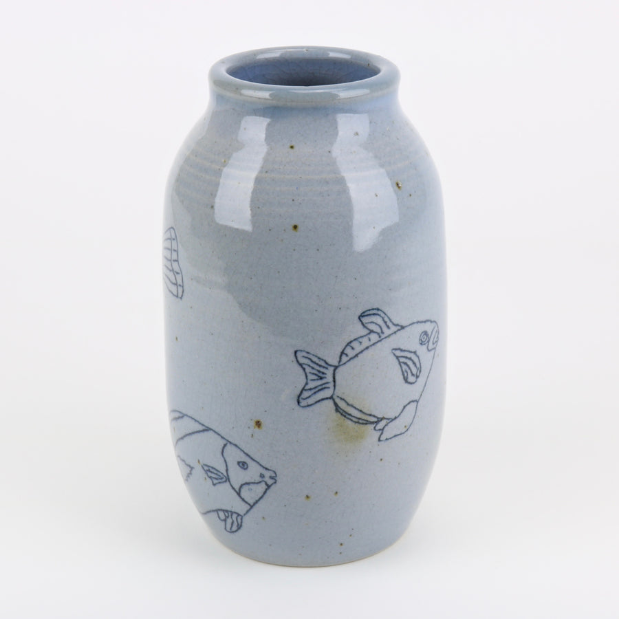 Aqua blue studio pottery fish vase by Janet