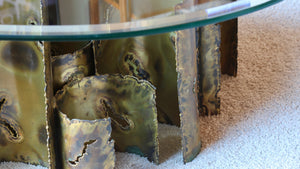 Bronze and glass mid century coffee table