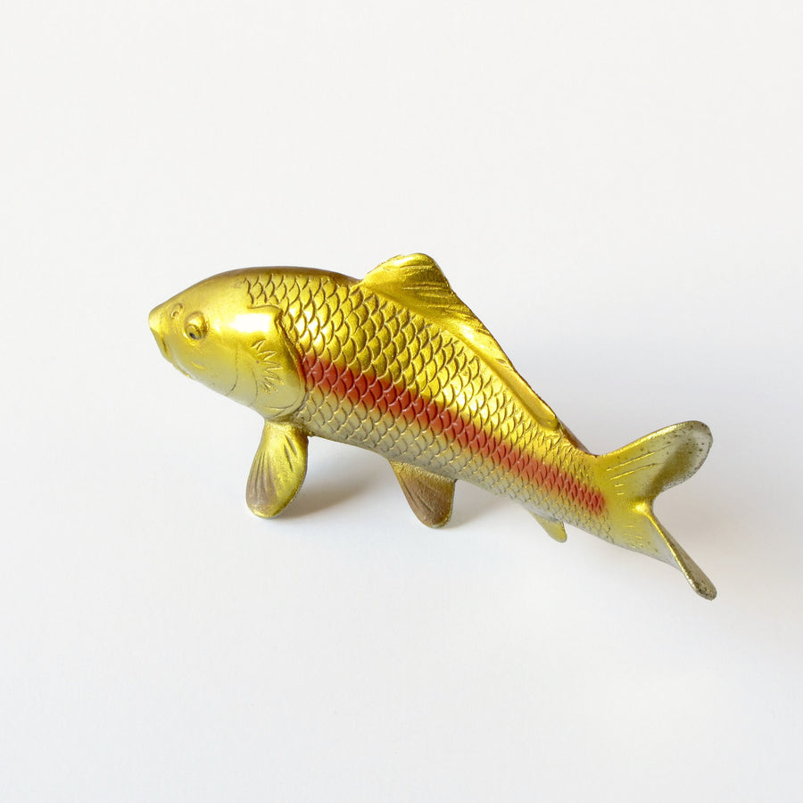 VIntage cast metal Japanese koi fish sculpture with gold metallic finish