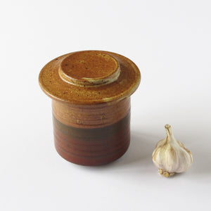 Studio pottery OWP butter crock with rust and burgundy glaze