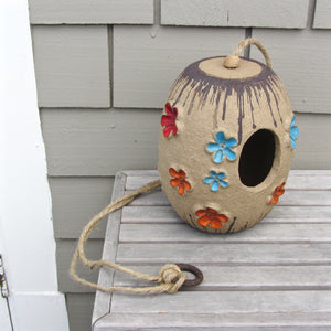 Mid century ceramic birdhouse art pottery