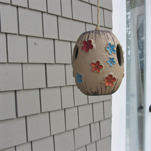 Mid century ceramic birdhouse art pottery hanging
