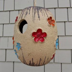 Mid century ceramic birdhouse art pottery closeup2