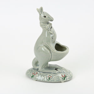 Sage green ceramic Kangaroo planter for air plants side view