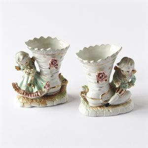 Estate figurine boot vases in porcelain with hand finished gold decor