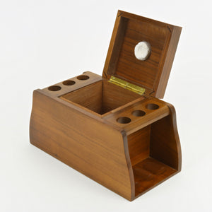 Fairfax walnut humidor with pipe holder rack raised lid