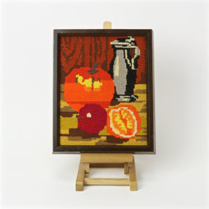 Framed needlepoint art canvas with still life fruit oranges