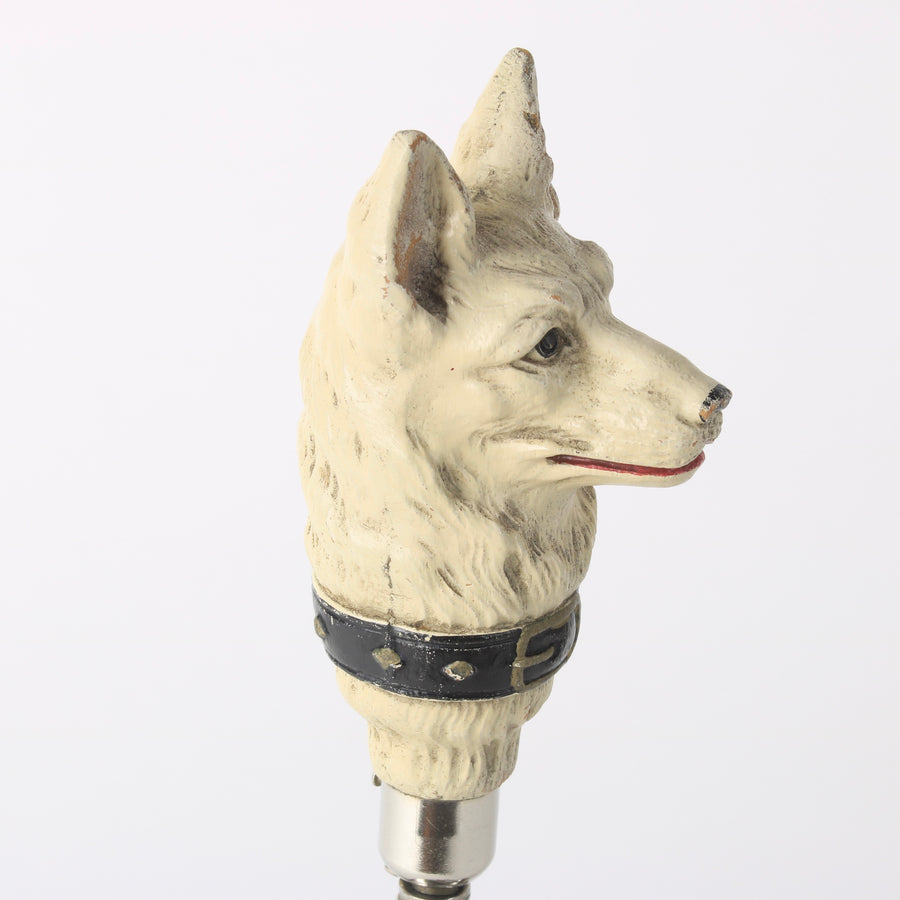 German Shepherd Corkscrew White Resin