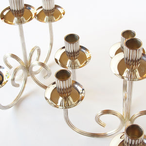 Set of 2 Gorham Silverplated Candelabras closeup view