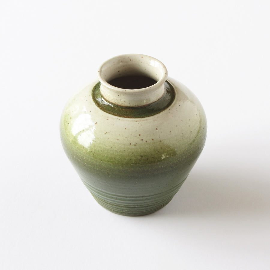 Hand made studio pottery vase with green and stone speckled glaze