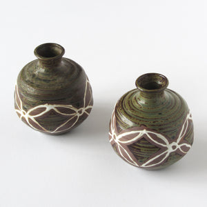 Set of 2 Japanese vases with flower design hand applied glaze