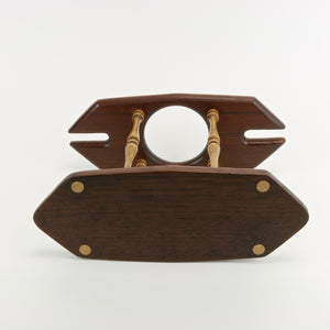 Solid teak wine caddy bottom view