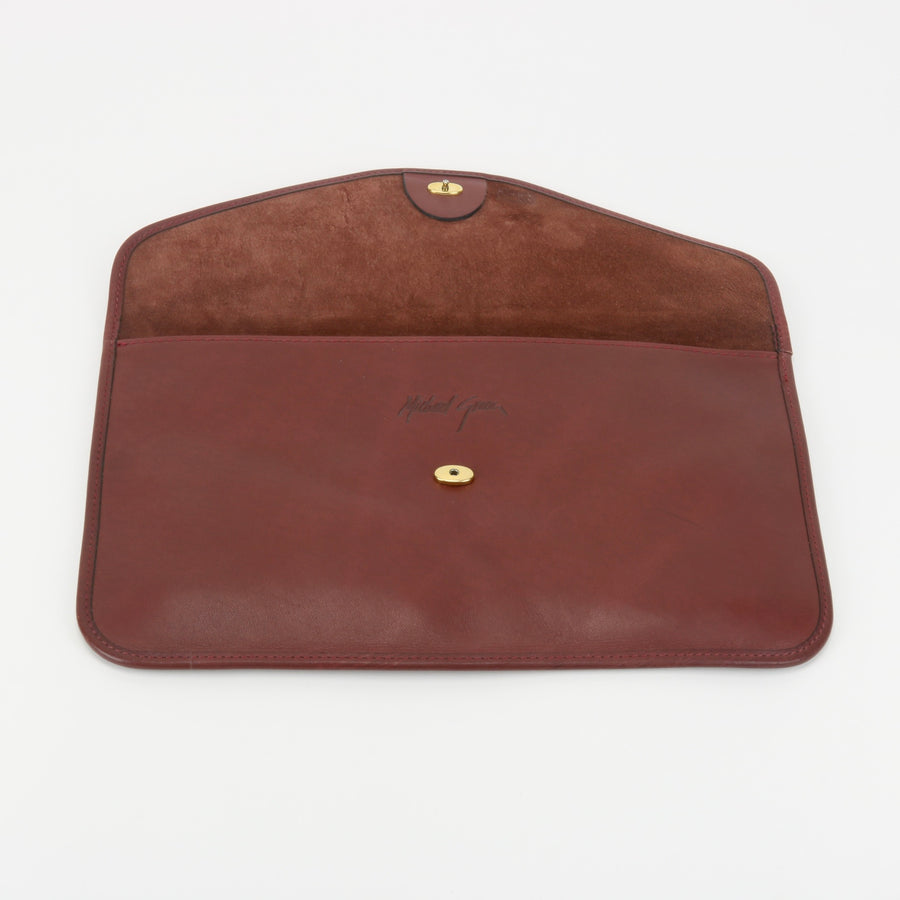 Michael Green Leather Envelope Clutch