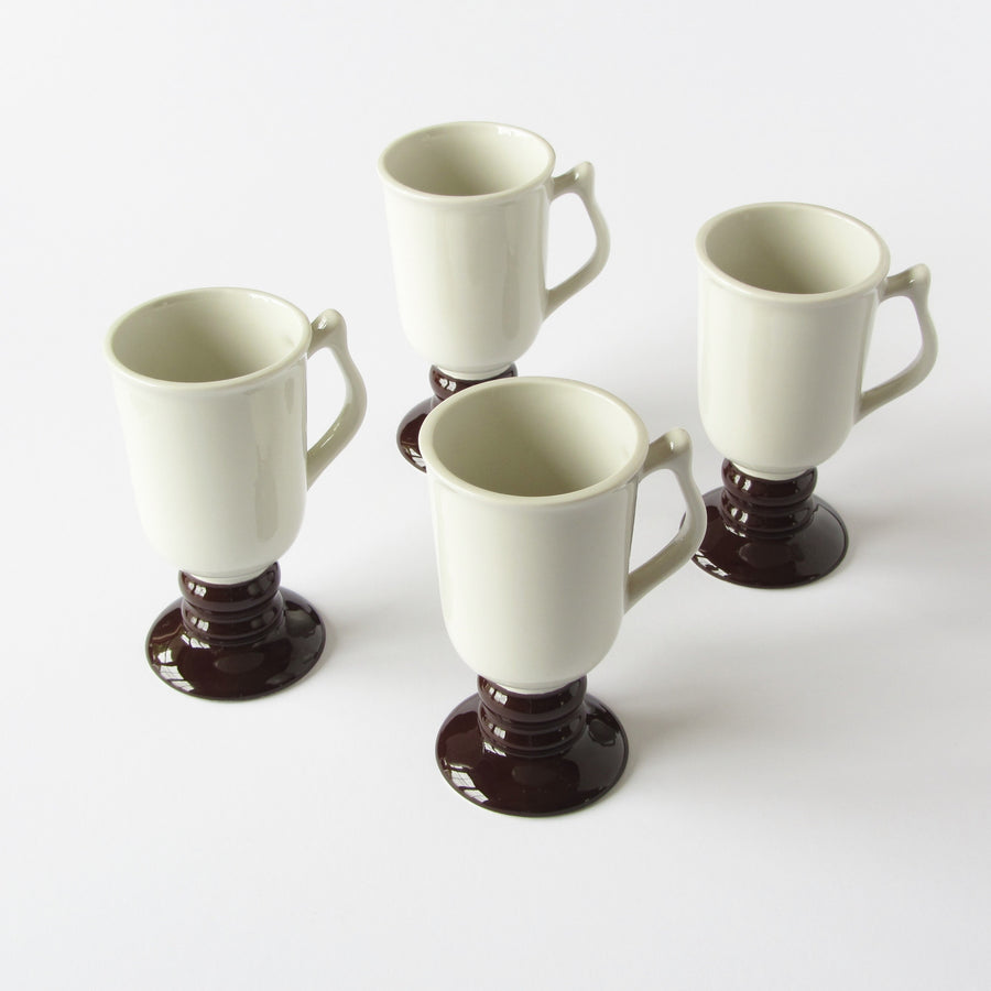 Vintage Hall USA Irish Coffee Mugs in antique white and mocha glaze