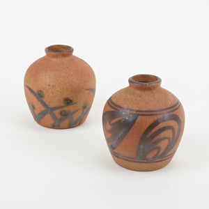 Set of 2 small Japanese bud vases terra cotta