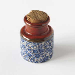 Japanese tea and spice jug with cork and blue floral glaze