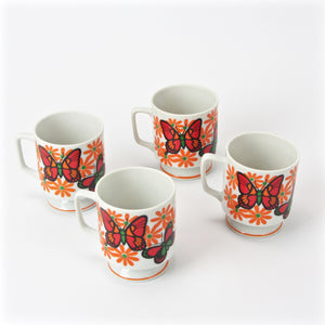 Japanese tea cups with butterfly floral design main image