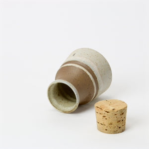 Small Japanese tea and spice container with cork open