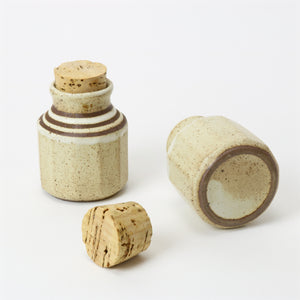 Japanese tea container set with corks bottom view
