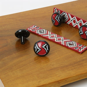Red, black and white lacquered cabinet pull or knob