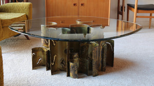 Brutalist coffee table torch cut bronze