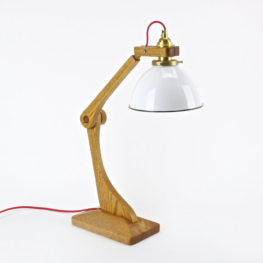 Mid century adjustable lamp in oak with enamel shade